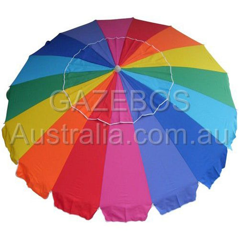 Rainbow multi-coloured beach umbrella