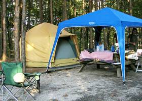 Blue gazebo tent for outdoor camping