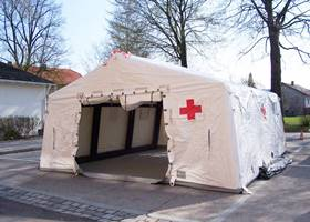 White massive emergency gazebo
