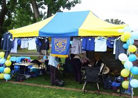 Yellow and blue gazebo tent use in festivals