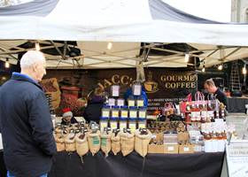 Coffee stall using a blue and white gazebo tent