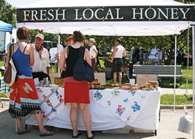 Sell local honey using a gazebo tent