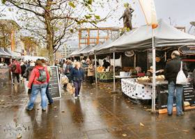 Busy Christmas market stalls