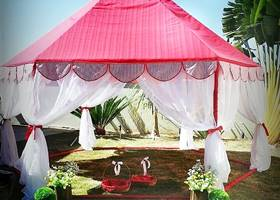 Fancy pink and white gazebo for party