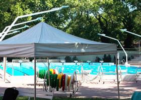 White massive gazebo pool tent