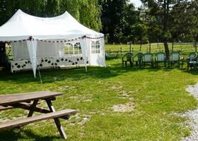 White gazebos tent at the park