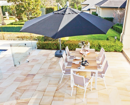 Pool side black cantilever umbrella