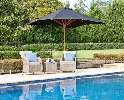 Pool side black umbrella