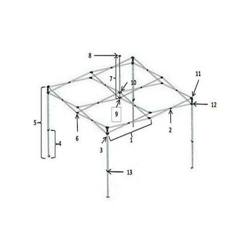 OZtrail Complete Corner Leg for Deluxe Compact Gazebo 1350mm Long