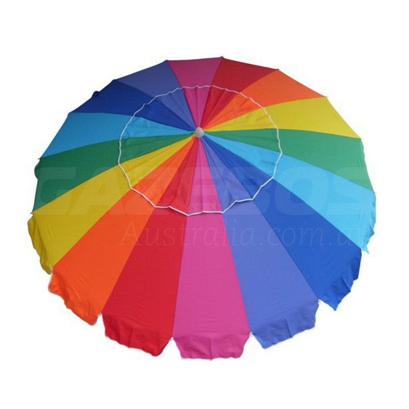 Beachkit Carnivale Rainbow 240cm 16 Colour Beach Umbrella