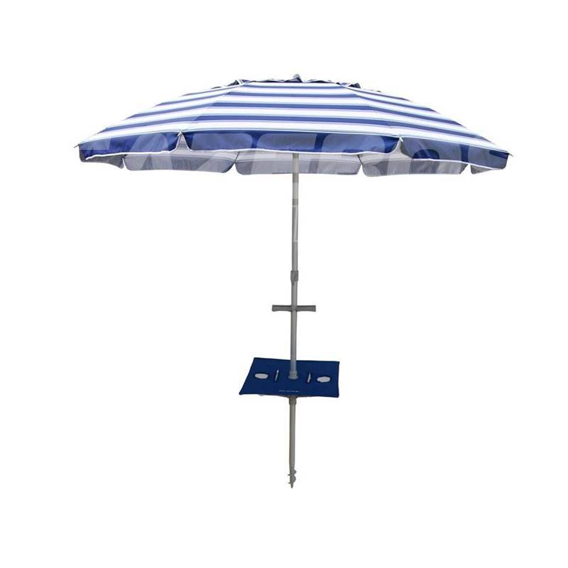 Beachkit Daytripper 210cm Beach Umbrella With Sunraker Pole Table