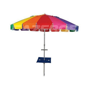 Beachkit Rainbow Carnivale 240cm Beach Umbrella with Sunraker Pole Table