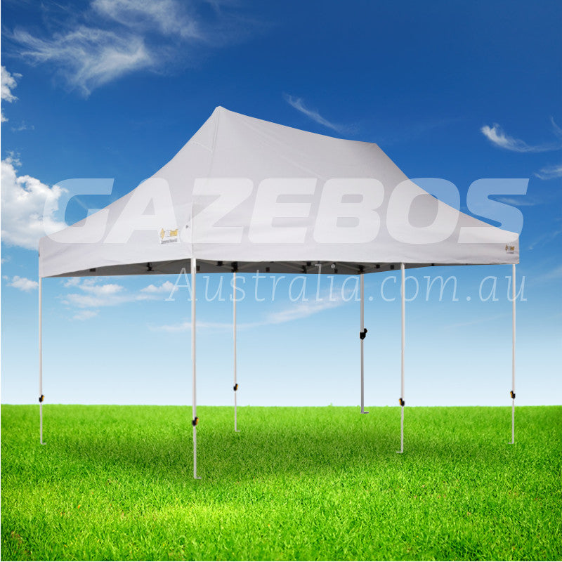 OZtrail Deluxe Commercial 6.0 Gazebo with White Canopy 6m x 3m