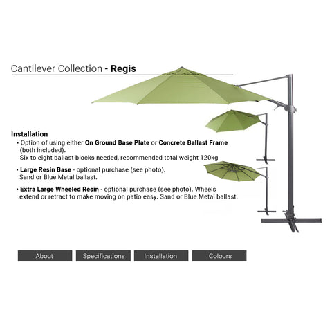 Shelta Regis Square 3m Cantilever Umbrella