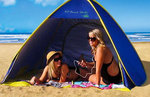 Shelta Royal with Yellow Trim 1.96m x 1.96m x 1.3m Pop Up Beach Shelter Shade Tent