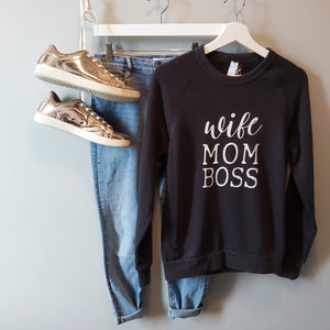Crew neck sweater - wife mom boss