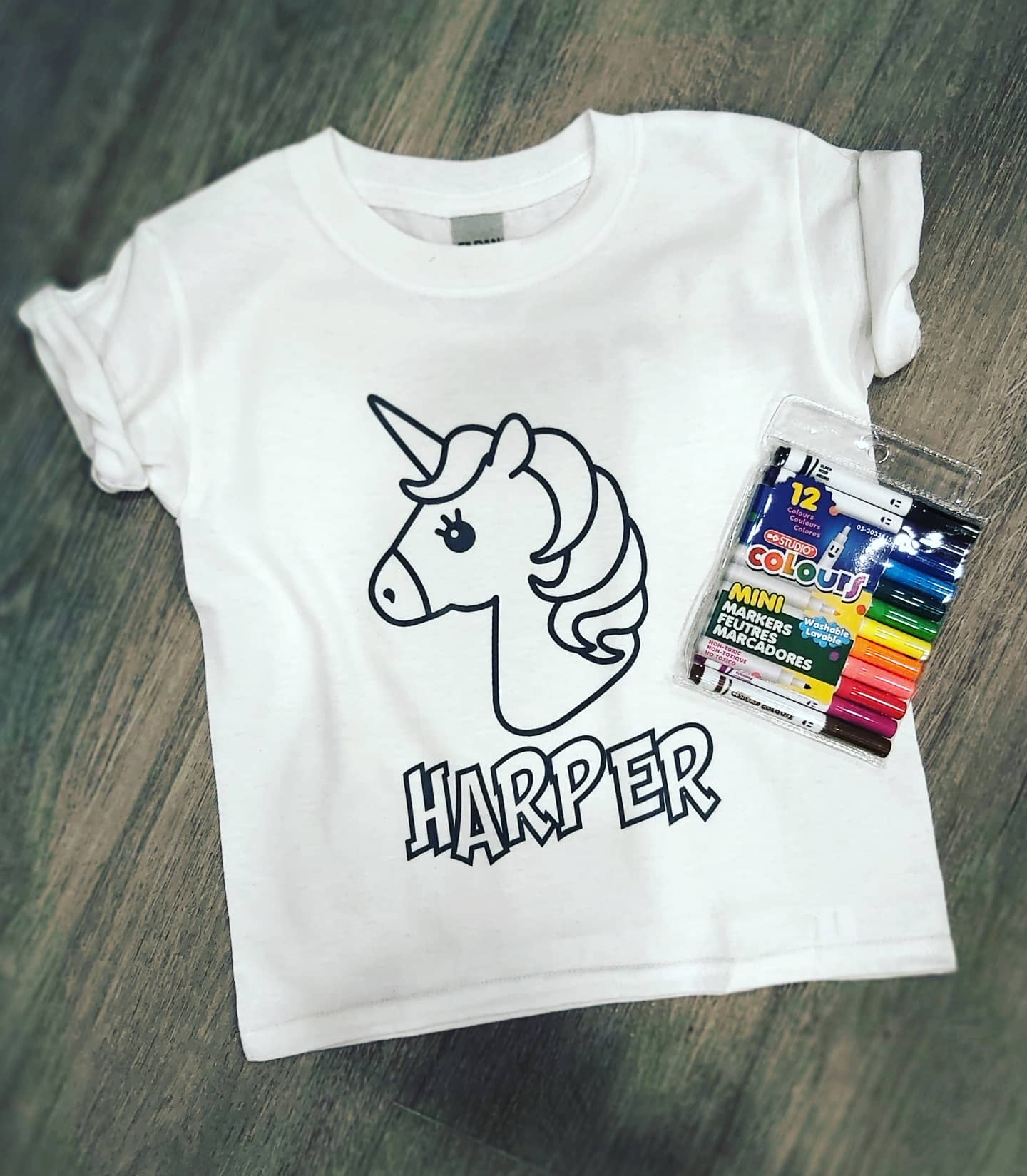 Colour me again kids tees