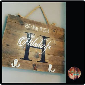 Personalized wooden name plaque with key hook
