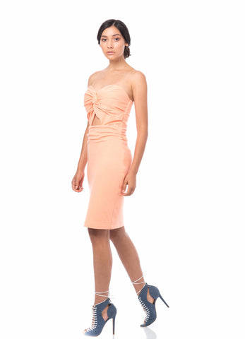 'TWIST OF FATE' ORGANIC COTTON DRESS PEACH