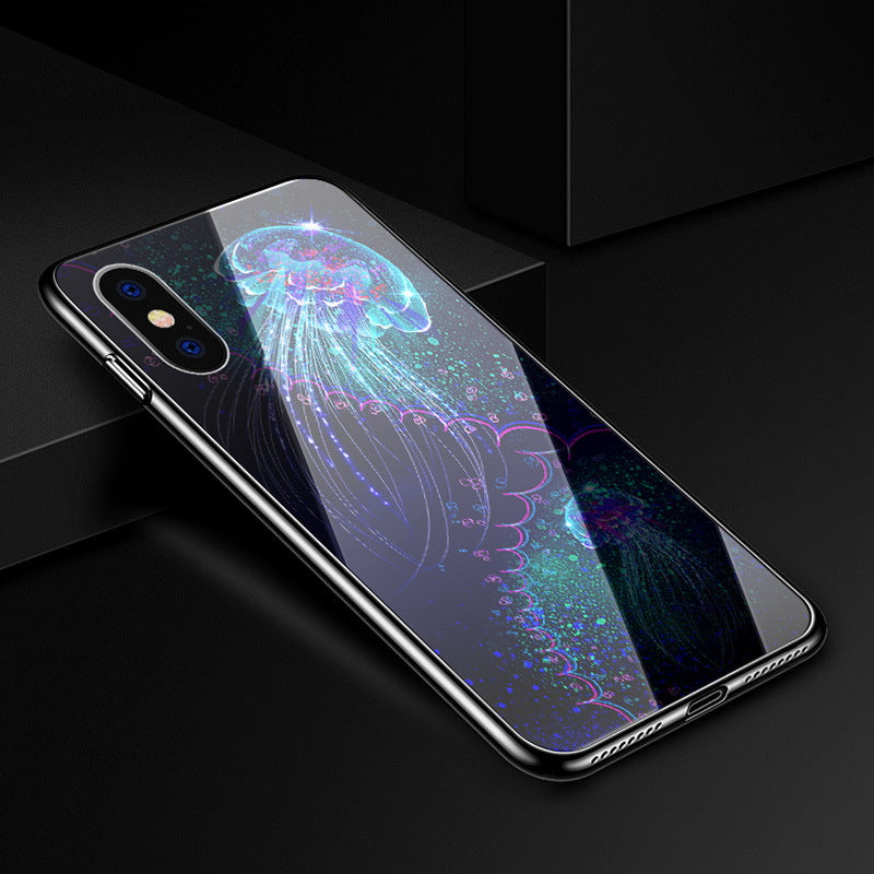 Uv Hardened Tempered Glass Pc Phone Case For Iphone X 8 8P 7 7P 6 6S 6P - Jellyfish / Iphone 6/6S