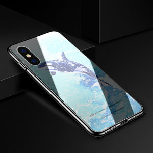 Uv Hardened Tempered Glass Pc Phone Case For Iphone X 8 8P 7 7P 6 6S 6P - Killer Whale / Iphone 6/6S