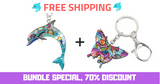 Enamel Dolphin Pendant Necklace-Pendant Necklace-Fynn Depot-Any Color+Butterfly (Bundle)-China to Other country-Fynn Depot