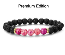 Load image into Gallery viewer, Healing 7 Chakras Lava Stone Beads 8mm Energy Bracelet-7 Chakra Bracelet-Fynn Depot-Premium Edition - Pink with Lava-Fynn Depot