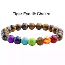Load image into Gallery viewer, Healing 7 Chakras Lava Stone Beads 8mm Energy Bracelet-7 Chakra Bracelet-Fynn Depot-Tiger Eye Chakra-Fynn Depot