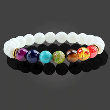 Load image into Gallery viewer, Healing 7 Chakras Lava Stone Beads 8Mm Energy Bracelet - Special Edition- Natural White 7 Chakra - 7 Chakra Bracelet