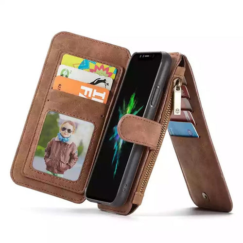 Luxury Iphone X Leather Wallet Case with Ziplock Card Slot-Fynn Depot-Fynn Depot