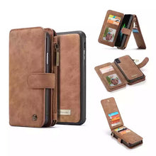 Load image into Gallery viewer, Luxury Iphone X Leather Wallet Case with Ziplock Card Slot-Fynn Depot-Brown-Fynn Depot