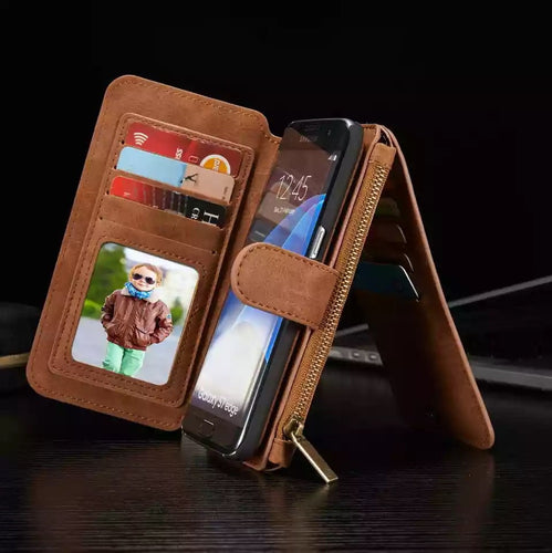 Luxury Iphone X Leather Wallet Case with Ziplock Card Slot