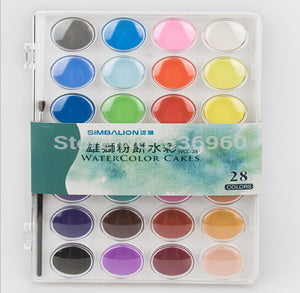 Good Color 12/16/28/36 Colors Solid Color Transparent Watercolor Painting Watercolor Portable Kit Free Shipping