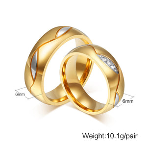 Wedding Ring Engagement Ring Gold Color Titanium Steel Jewelry - Couples Ring