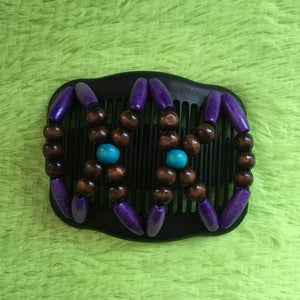 Magic Butterfly Wooden Beads Hair Comb - Purple - Magic Hair Comb
