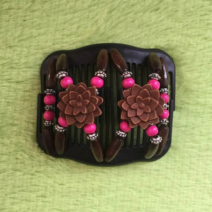 Magic Butterfly Wooden Beads Hair Comb - Rose - Magic Hair Comb