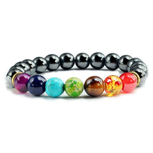 Load image into Gallery viewer, Healing 7 Chakras Lava Stone Beads 8Mm Energy Bracelet - Black Gallstone - 7 Chakra Bracelet