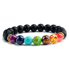Load image into Gallery viewer, Healing 7 Chakras Lava Stone Beads 8Mm Energy Bracelet - Black - 7 Chakra Bracelet