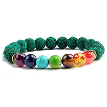 Load image into Gallery viewer, Healing 7 Chakras Lava Stone Beads 8Mm Energy Bracelet - Green Lava - 7 Chakra Bracelet