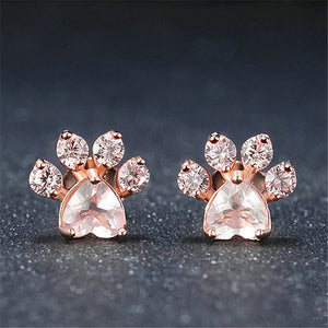 Women Rose Gold Cat Paw Earrings - Earrings
