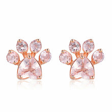 Load image into Gallery viewer, Women Rose Gold Cat Paw Earrings - Earrings