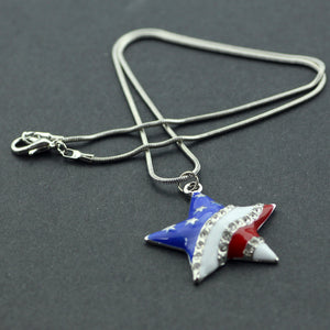 Usa Flag Design Pendant Necklace For Women - Independent Day