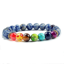 Load image into Gallery viewer, Natural Tiger Eye Stone with Healing 7 Chakra Bracelet-7 Chakra Bracelet-Fynn Depot-White spot blue-Fynn Depot