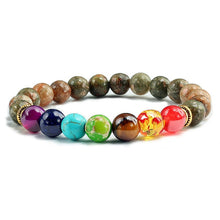 Load image into Gallery viewer, Natural Tiger Eye Stone with Healing 7 Chakra Bracelet-7 Chakra Bracelet-Fynn Depot-Flower Green-Fynn Depot