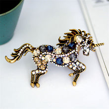 Load image into Gallery viewer, Running Horse Unicorn Brooch - Blue - Brooch