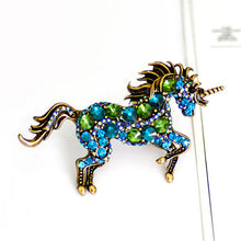 Load image into Gallery viewer, Running Horse Unicorn Brooch - Green - Brooch