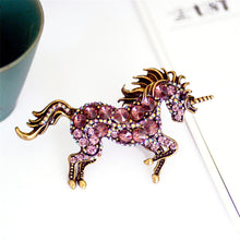 Load image into Gallery viewer, Running Horse Unicorn Brooch - Pink - Brooch