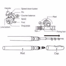 Load image into Gallery viewer, Portable Pocket Telescopic Mini Fishing Pole With Reel Wheel - Fishing Pole
