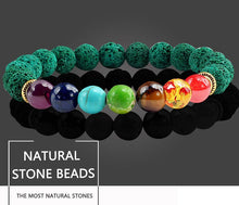 Load image into Gallery viewer, Healing 7 Chakras Lava Stone Beads 8Mm Energy Bracelet - 7 Chakra Bracelet