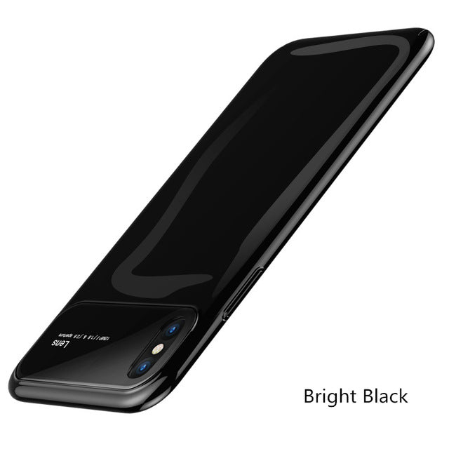 Tempered Glass & Matte Pc Phone Case For Iphone Samsung - Bright Black / For Iphone 6 6S - Phone Case